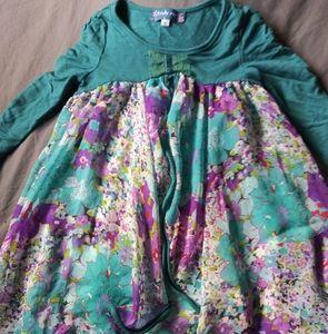 Girls blue boutique boho Truly Me sheer dress sz 6